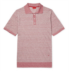 Isaia - Striped Mélange Linen and Cotton-Blend Polo Shirt