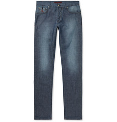 Isaia Slim-Fit Cotton and Linen-Blend Denim Jeans