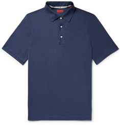 Isaia Silk and Cotton-Blend Polo Shirt