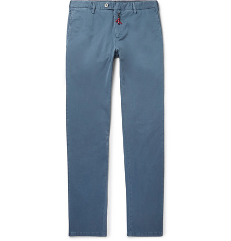 ISAIA | Isaia - Slim-fit Stretch-cotton Twill Chinos - Blue | Goxip