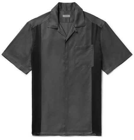 Camp Collar Colour Block Satin Shirt by Lanvin