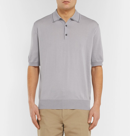 LANVIN Polos Contrast-Tipped Wool Polo Shirt
