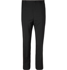 Lanvin Black Glittered Grosgrain-Trimmed Wool and Mohair-Blend Tuxedo Trousers