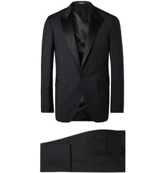Lanvin Midnight-Blue Slim-Fit Satin-Trimmed Wool and Mohair-Blend Tuxedo