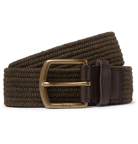 Polo Ralph Lauren – 3.5cm Army-green Leather-trimmed Woven Belt – Brown