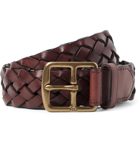 3cm Brown Woven Leather Belt by Polo Ralph Lauren