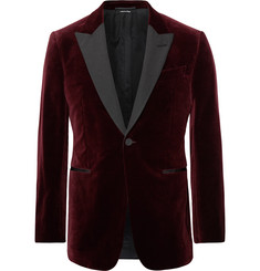 Dunhill Burgundy Kensington Slim-Fit Faille-Trimmed Cotton-Velvet Tuxedo Jacket