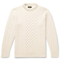 Dunhill Cable-Knit Merino Wool Mock-Neck Sweater