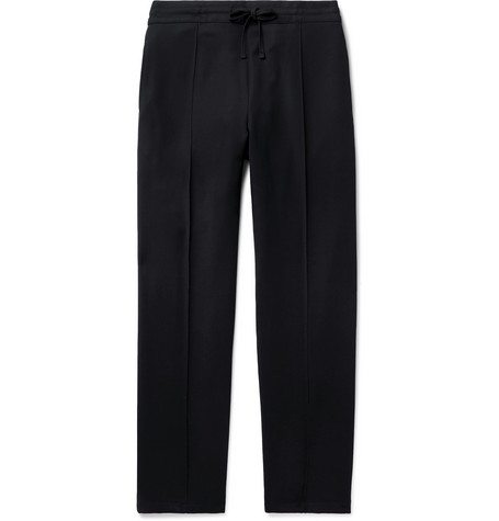 DUNHILL | Dunhill - Navy Wool-twill Drawstring Trousers - Navy | Goxip