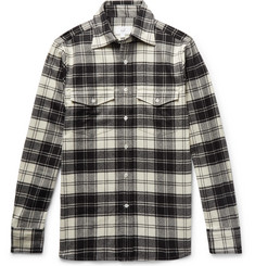 Dunhill Checked Brushed Wool-Blend Flannel Shirt