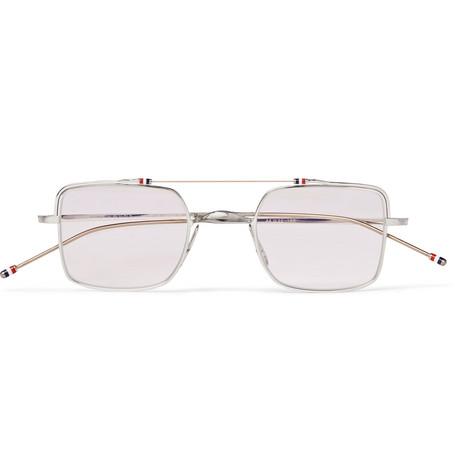 f4b74d9869 Thom Browne - Square-Frame Silver-Tone Optical Glasses