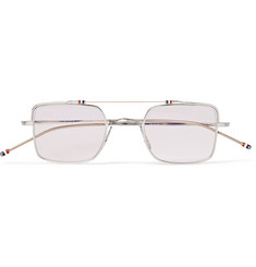 Thom Browne Square-Frame Silver-Tone Optical Glasses