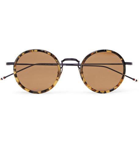 052b93eaae6 Thom BrowneRound-Frame Tortoiseshell Acetate and Metal Sunglasses
