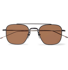 Thom Browne Square-Frame Matte-Black Metal Sunglasses
