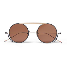 Thom Browne Round-Frame Navy and Gold-Tone Sunglasses