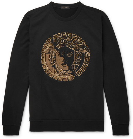 Medusa Embellished Cotton Jersey Sweatshirt by Versace