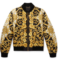 Versace Printed Quilted Silk Bomber Jacket