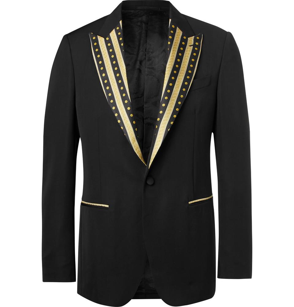 6c0bcc86d28 Veste  Veste VERSACE · Blazer. Black Slim-fit Contrast-trimmed Virgin Wool  Blazer - Black