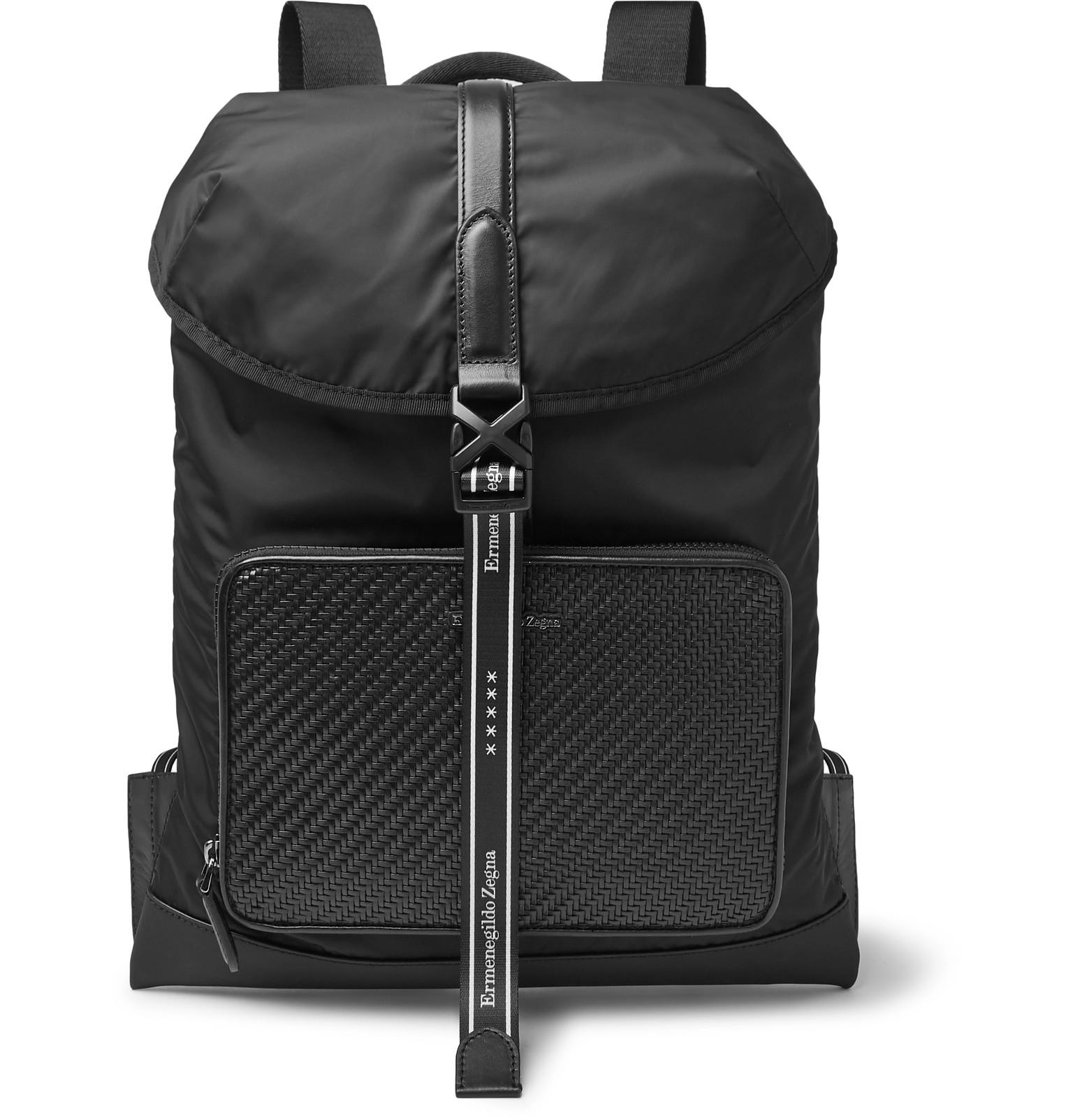 5a3759a27c Ermenegildo Zegna - Pelle Tessuta Leather and Nylon Backpack