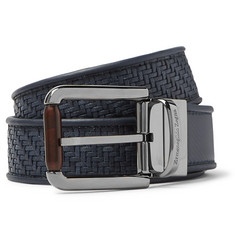 Ermenegildo Zegna 3.5cm Blue Reversible Pelle Tessuta Leather Belt