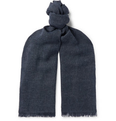 Ermenegildo Zegna Fringed Linen, Cashmere and Wool-Blend Scarf