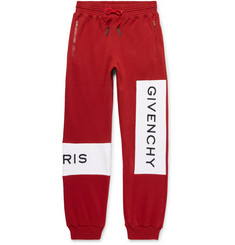 Givenchy Tapered Logo-Embroidered Fleece-Back Cotton-Jersey Sweatpants