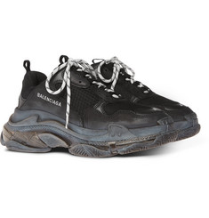 Balenciaga - Triple S Clear Sole Mesh, Nubuck and Leather Sneakers