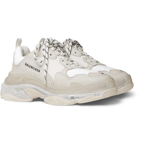 Balenciaga – Triple S Clear Sole Mesh, Nubuck And Leather Sneakers – White