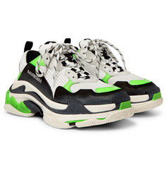 Balenciaga - Triple S Mesh, Nubuck and Leather Sneakers