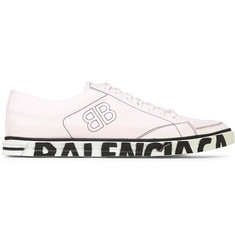 Balenciaga Match Distressed Logo-Print Canvas Sneakers