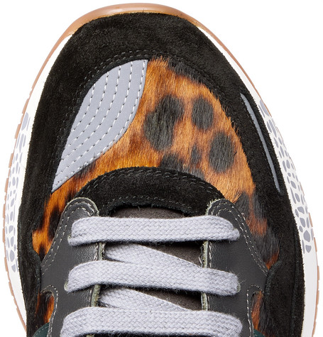 VERSACE Sneakers Achilles Panelled Leopard-Print Calf Hair Sneakers