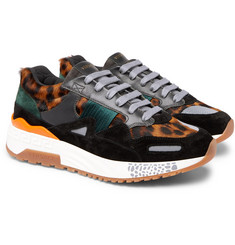 Versace - Achilles Panelled Leopard-Print Calf Hair Sneakers
