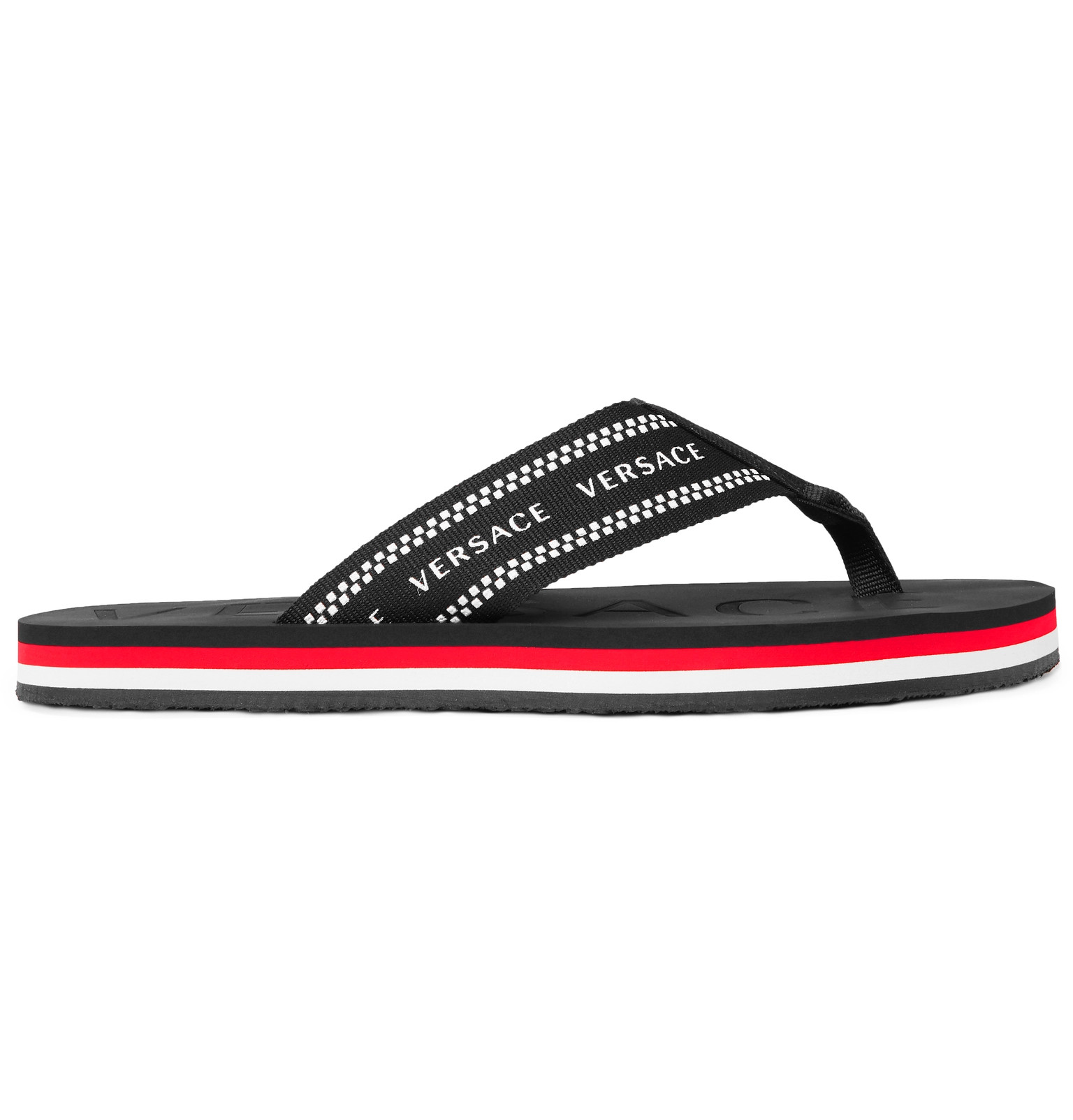f9a5a0211bd9 Versace - Logo-Jacquard Webbing and Rubber Flip Flops