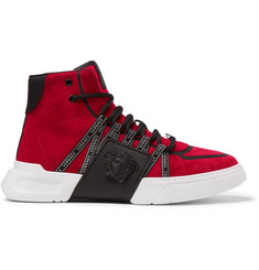 Versace Cerus Suede and Leather High-Top Sneakers