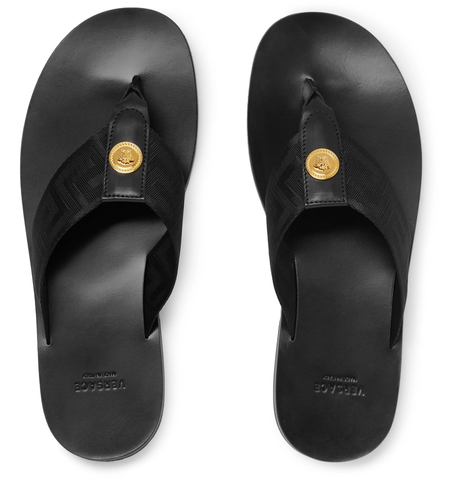 248e8114de47 Versace - Logo-Embellished Leather and Webbing Flip Flops
