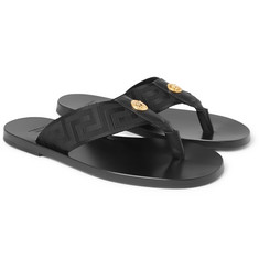 Versace Logo-Embellished Leather and Webbing Flip Flops