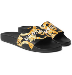 Versace Printed Leather Slides