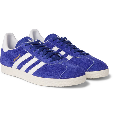 Gazelle Distressed Suede And Leather Sneakers - Blue