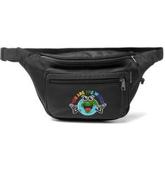발렌시아가 로고 자수 캔버스 벨트백 블랙 Balenciaga Embroidered Canvas Belt Bag,Black