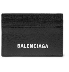 Balenciaga Arena Logo-Print Creased-Leather Cardholder