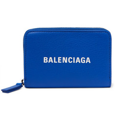 Balenciaga Logo-Print Textured-Leather Zip-Around Wallet