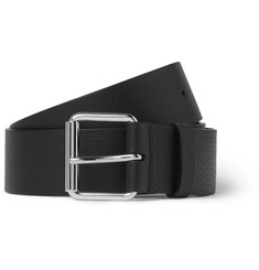Balenciaga - 4cm Black Logo-Print Full-Grain Leather Belt