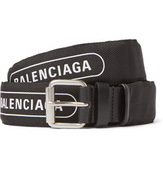 Balenciaga 3cm Black Logo-Print Canvas and Leather Belt