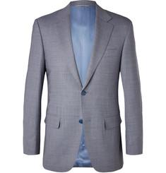 Blue Puppytooth Wool Blazer - Blue