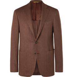 Brown Exclusivvo Slim-fit Linen And Wool-blend Suit Jacket - Brown