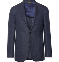 Canali Blue Kei Slim-Fit Stretch-Wool and Linen Blend Blazer