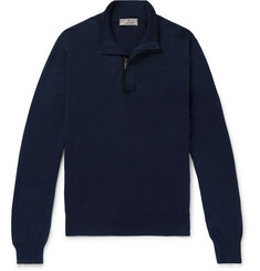 Canali Suede-Trimmed Cotton Half-Zip Sweater