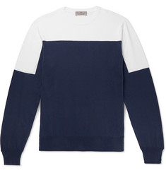 Canali Slim-Fit Two-Tone Cotton Sweater