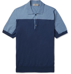 Canali Slim-Fit Colour-Block Cotton Polo Shirt