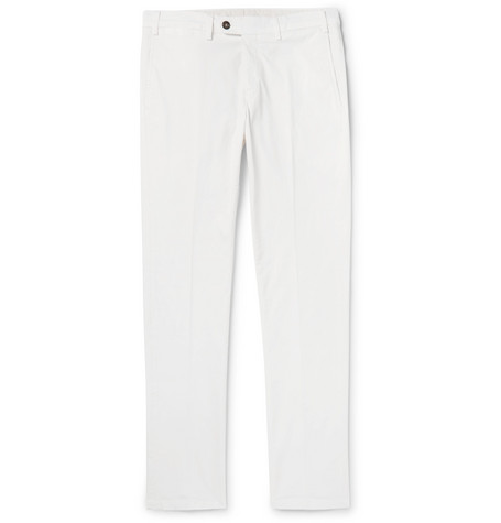 CANALI | Canali - Slim-fit Cotton-blend Twill Chinos - White | Goxip